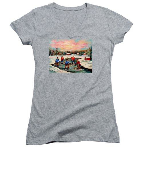 Pond Hockey Countryscene Women's V-Neck (Athletic Fit)