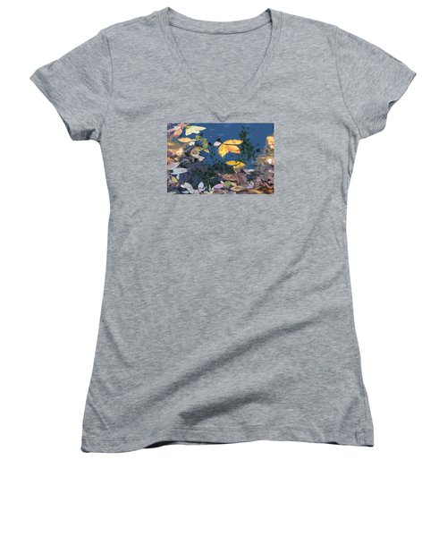 Women's V-Neck T-Shirt (Junior Cut) featuring the photograph Autumn Leaves On The Pond by Spyder Webb