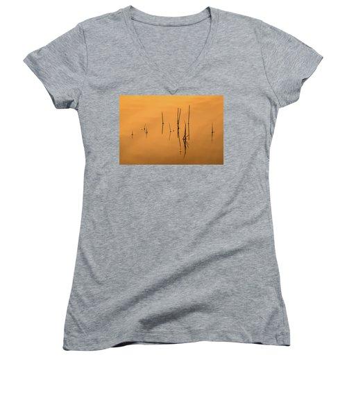 Pond Reeds In Reflected Sunrise Women's V-Neck T-Shirt