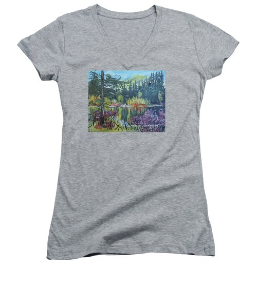 Pond Reflections Women's V-Neck (Athletic Fit)