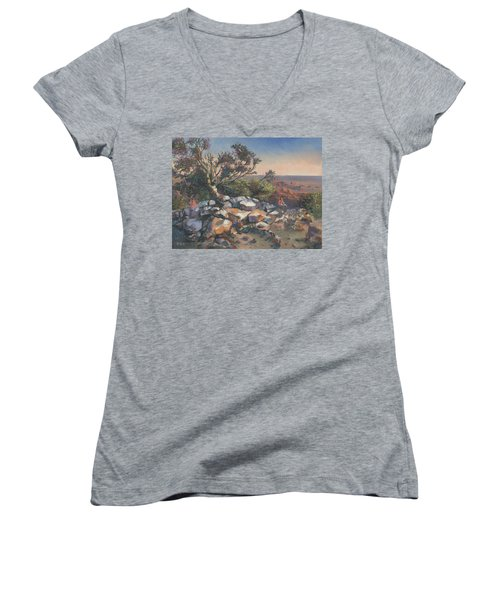 Pondering By The Canyon Women's V-Neck