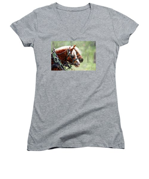 Ponies In Harness Women's V-Neck (Athletic Fit)