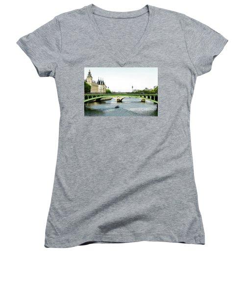 Pont Au Change Over The Seine River In Paris Women's V-Neck