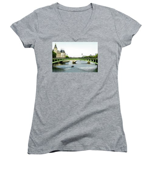 Pont Au Change Over The Seine River In Paris Women's V-Neck