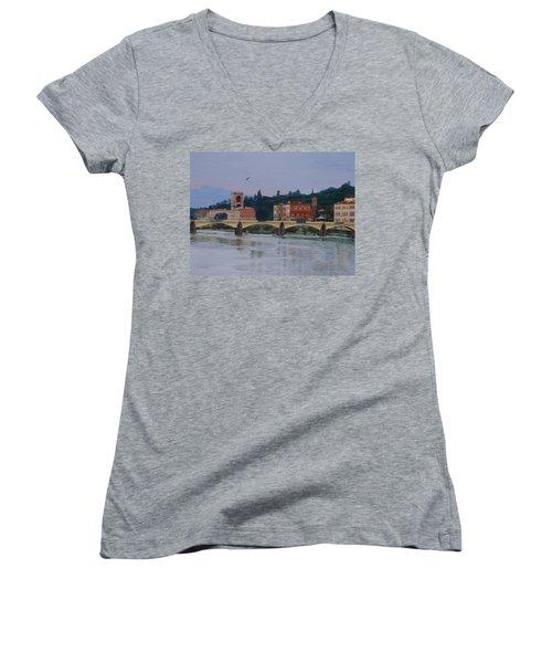 Pont Vecchio Landscape Women's V-Neck T-Shirt (Junior Cut) by Lynne Reichhart