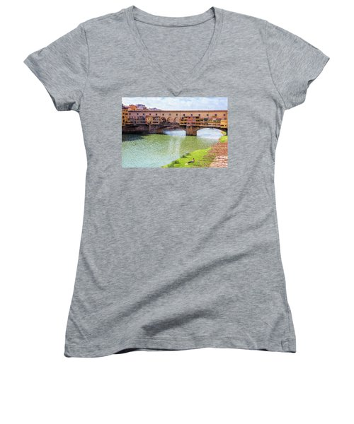 Women's V-Neck T-Shirt (Junior Cut) featuring the photograph Ponte Vecchio Florence Italy II Painterly by Joan Carroll