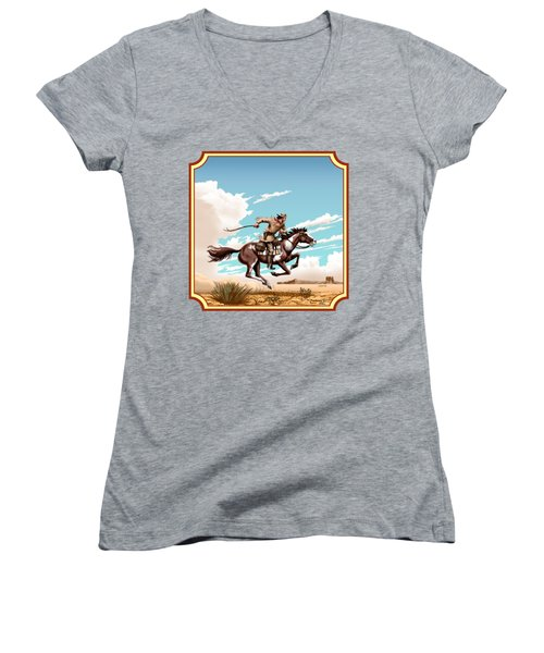 Pony Express Rider - Western Americana - Square Format Women's V-Neck T-Shirt (Junior Cut) by Walt Curlee