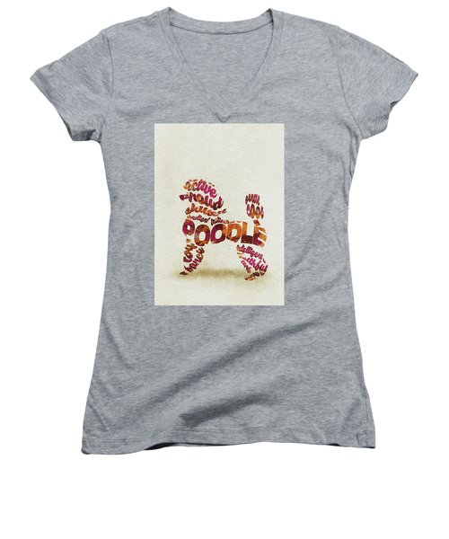 Women's V-Neck T-Shirt featuring the painting Poodle Dog Watercolor Painting / Typographic Art by Inspirowl Design