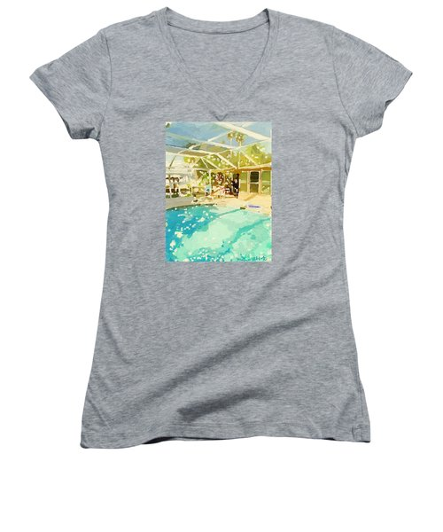 Pool And Screened Pool House Women's V-Neck (Athletic Fit)