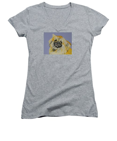 Women's V-Neck T-Shirt (Junior Cut) featuring the painting Poopan The Pekingese by Hilda and Jose Garrancho