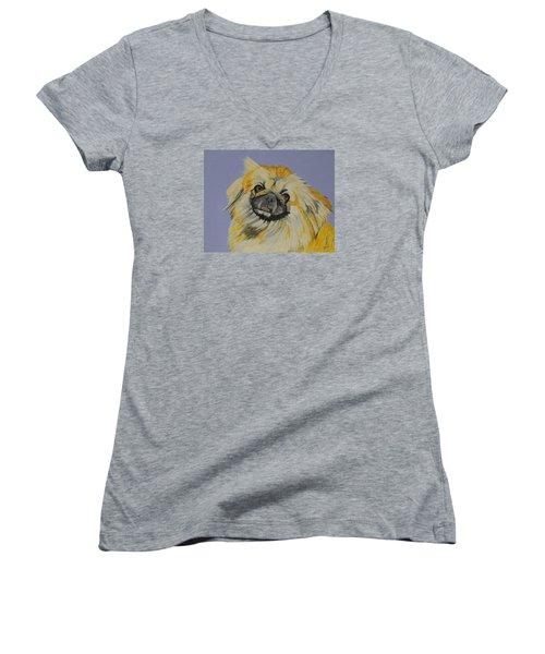 Poopan The Pekingese Women's V-Neck T-Shirt