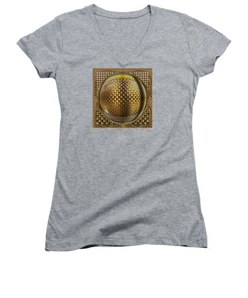 Pop Art Circles Women's V-Neck T-Shirt (Junior Cut) by Mario Carini