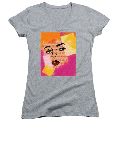 Women's V-Neck T-Shirt (Junior Cut) featuring the mixed media Pop Art Comic Woman by Dan Sproul