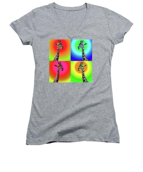 Pop Art Giraffe Women's V-Neck