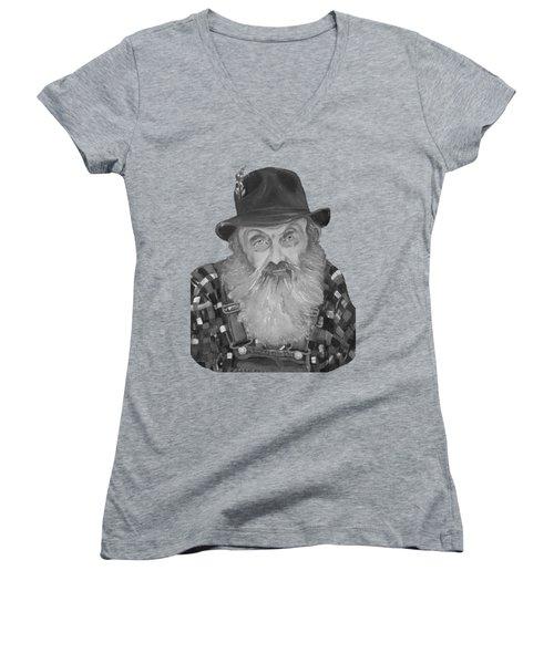 Popcorn Sutton Moonshiner Bust - T-shirt Transparent B And  W Women's V-Neck T-Shirt (Junior Cut) by Jan Dappen