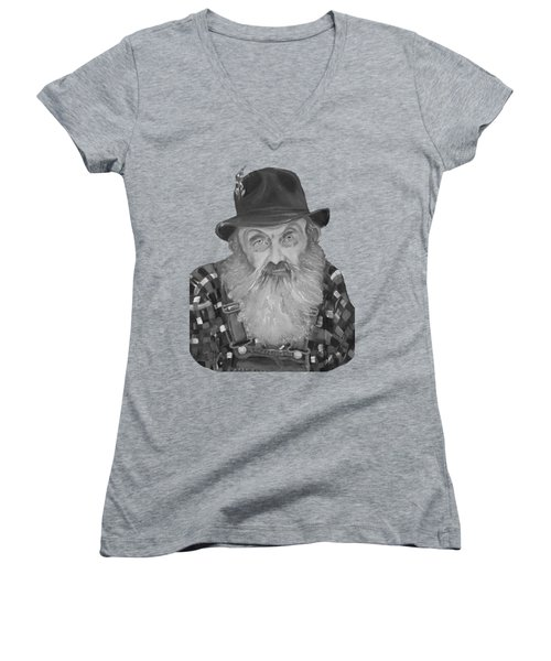 Popcorn Sutton Moonshiner Bust - T-shirt Transparent B And  W Women's V-Neck