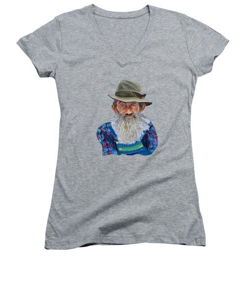 Popcorn Sutton Rocket Fuel- Transparent For T-shirt Women's V-Neck T-Shirt (Junior Cut) by Jan Dappen
