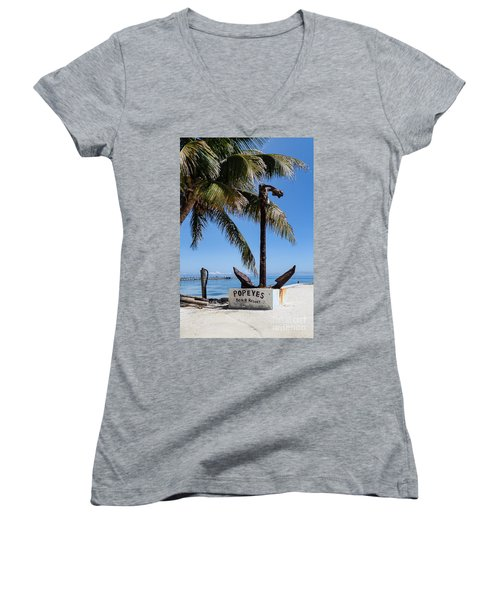 Women's V-Neck T-Shirt (Junior Cut) featuring the photograph Popeyes by Lawrence Burry
