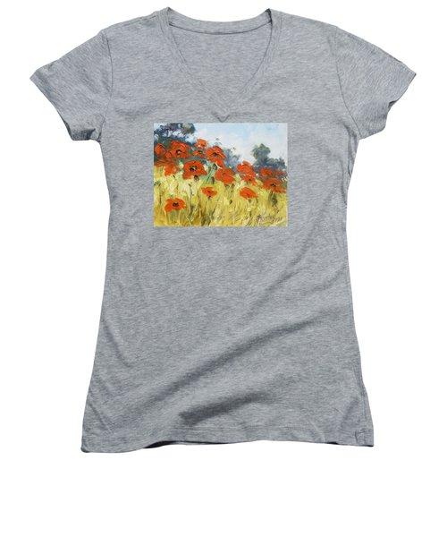 Poppies 3 Women's V-Neck T-Shirt (Junior Cut) by Irek Szelag