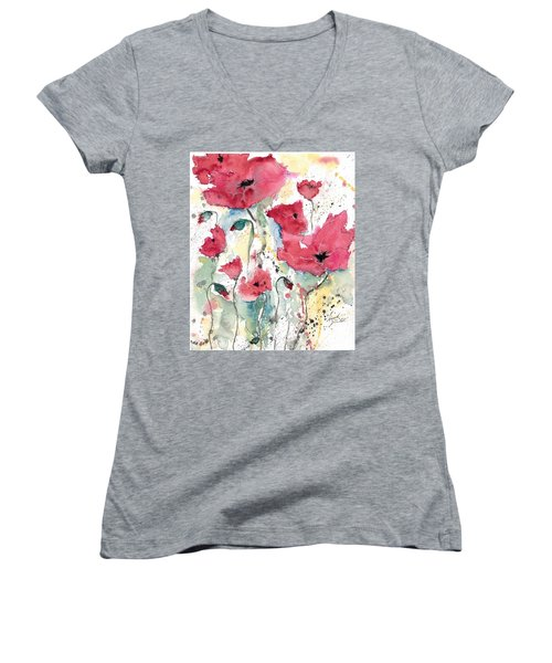 Women's V-Neck T-Shirt (Junior Cut) featuring the painting Poppies 10 by Ismeta Gruenwald