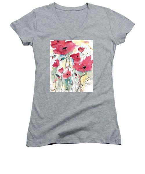 Poppies 10 Women's V-Neck T-Shirt