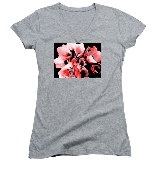 Poppies Bouquet Women's V-Neck (Athletic Fit)