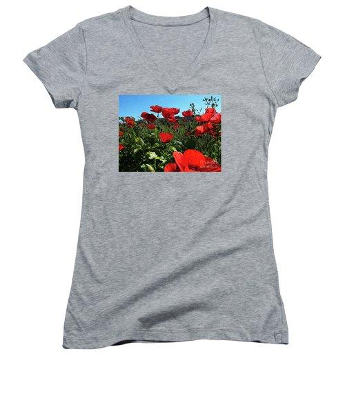 Poppies. Women's V-Neck T-Shirt (Junior Cut) by Don Pedro De Gracia