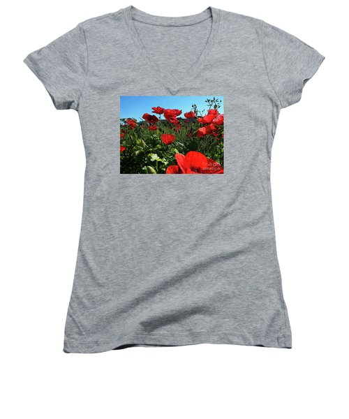 Poppies. Women's V-Neck T-Shirt