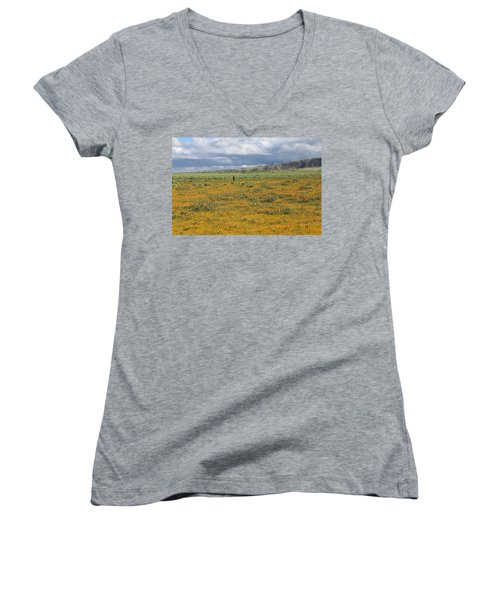 Poppies Field In Antelope Valley Women's V-Neck (Athletic Fit)