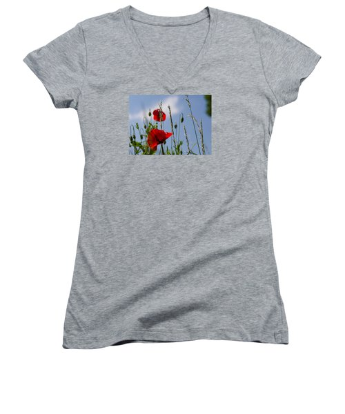 Poppies In The Skies Women's V-Neck T-Shirt (Junior Cut) by Rainer Kersten