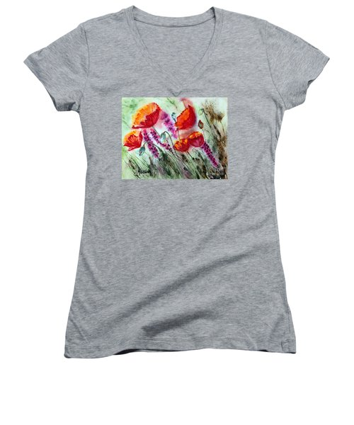 Women's V-Neck T-Shirt (Junior Cut) featuring the painting Poppies In The Wind by Maria Barry