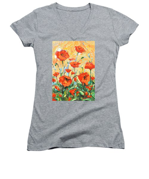 Poppies On A Yellow            Women's V-Neck T-Shirt