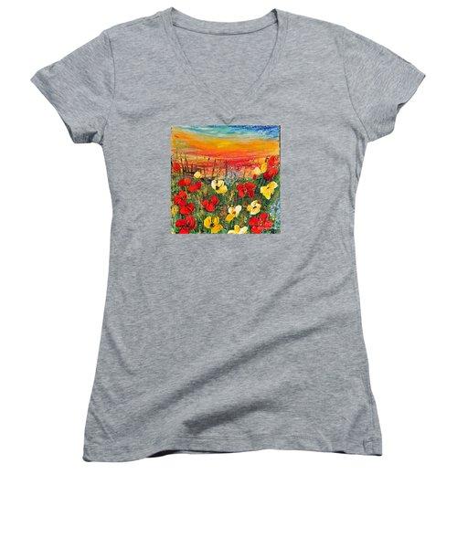 Poppies Women's V-Neck T-Shirt (Junior Cut) by Teresa Wegrzyn