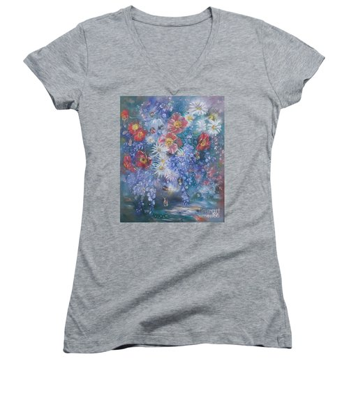 Poppies, Wisteria And Marguerites Women's V-Neck