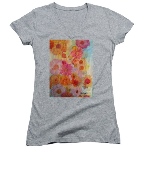 Women's V-Neck T-Shirt (Junior Cut) featuring the painting Popping by Kim Nelson