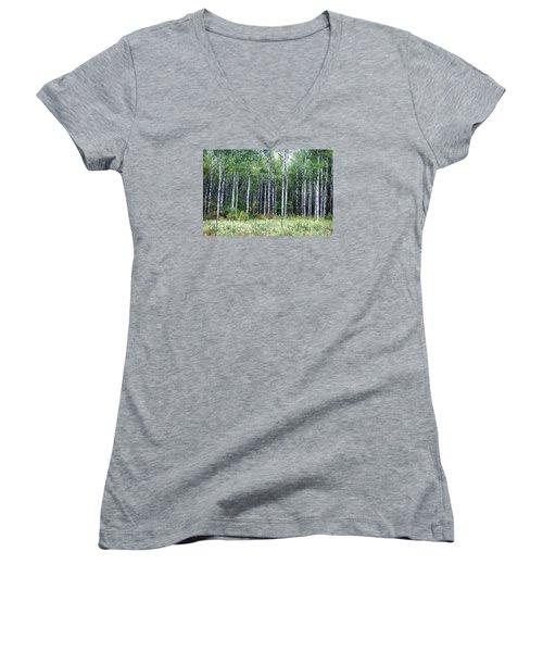 Women's V-Neck T-Shirt (Junior Cut) featuring the photograph Popple Trees by Susan Crossman Buscho