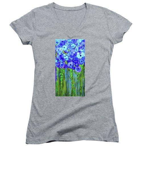 Women's V-Neck featuring the mixed media Poppy Bloomies 2 - Blue by Carol Cavalaris