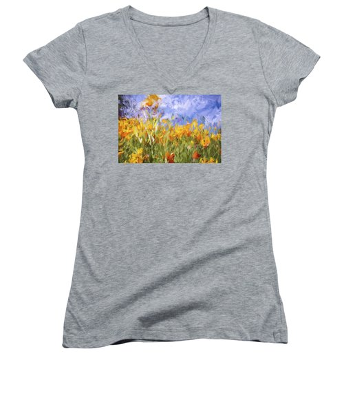 Poppy Field Women's V-Neck T-Shirt (Junior Cut) by Bonnie Bruno