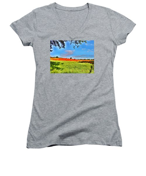 Poppy Field Women's V-Neck T-Shirt