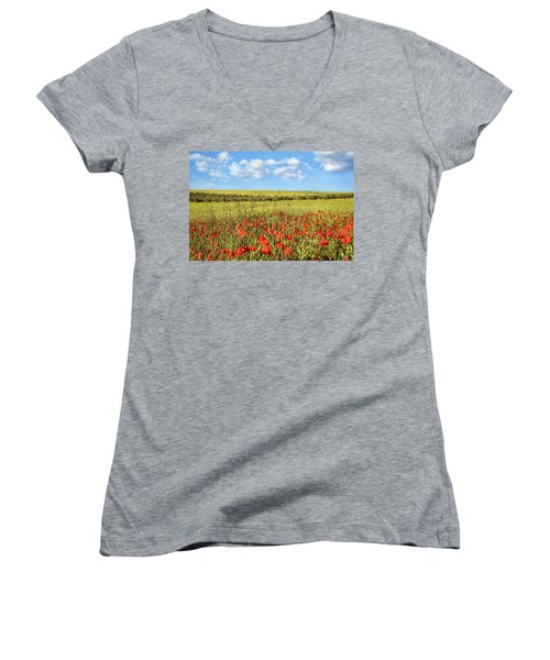 Poppy Fields Women's V-Neck T-Shirt (Junior Cut) by Marion McCristall