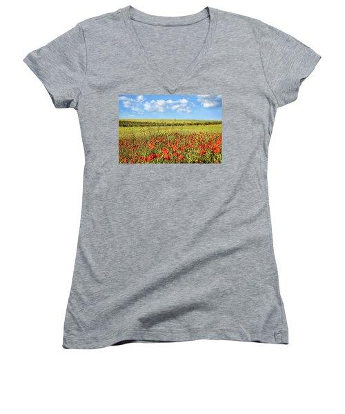 Poppy Fields Women's V-Neck T-Shirt
