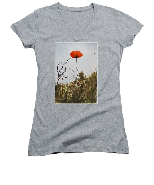 Women's V-Neck T-Shirt (Junior Cut) featuring the painting Poppy On The Field by Manuela Constantin