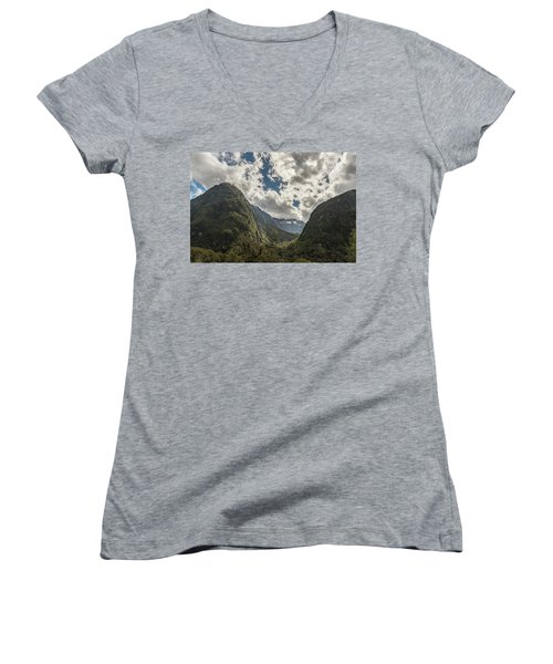 Women's V-Neck T-Shirt featuring the photograph Pop's View Lookout by Gary Eason
