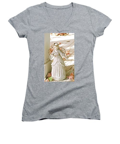 Porch Angel In The Fall Women's V-Neck