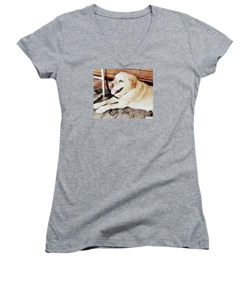 Porch Pooch Women's V-Neck T-Shirt (Junior Cut)