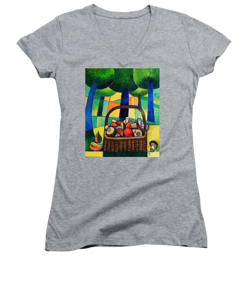 Women's V-Neck T-Shirt (Junior Cut) featuring the painting Porcini by Mikhail Zarovny