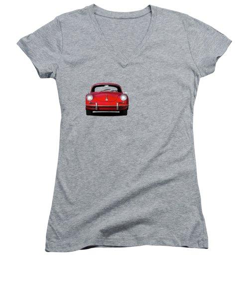 Porsche 356 Women's V-Neck T-Shirt (Junior Cut) by Mark Rogan