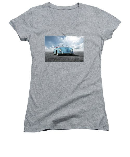 Women's V-Neck T-Shirt (Junior Cut) featuring the digital art Porsche 356 Speedster by Peter Chilelli