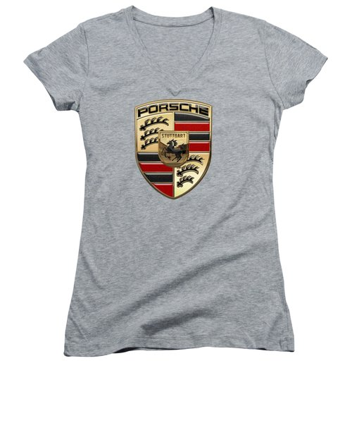 Porsche - 3d Badge On Yellow Women's V-Neck T-Shirt