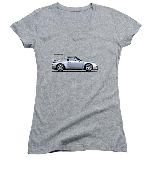 Porsche 993 Women's V-Neck T-Shirt (Junior Cut) by Mark Rogan